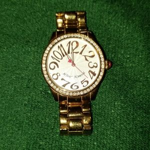 Betsy Johnson Gold Watch with Rhinestones